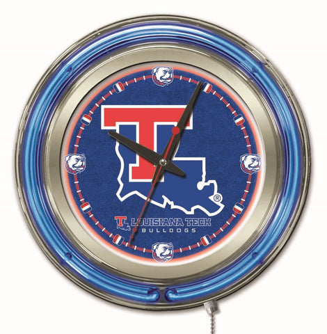 "Louisiana Tech Bulldogs HBS Neon Blue College Battery Powered Wall Clock (15"")"