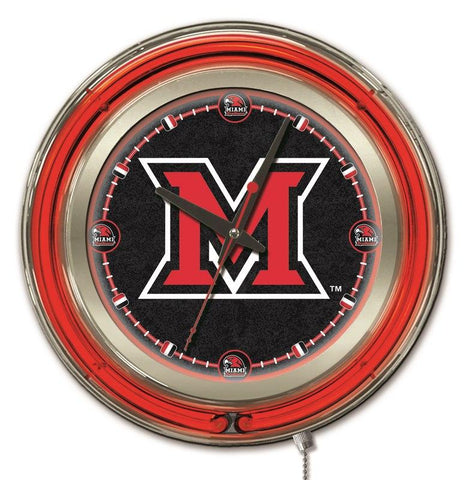 "Miami Redhawks HBS Neon Red Black College Battery Powered Wall Clock (15"")"