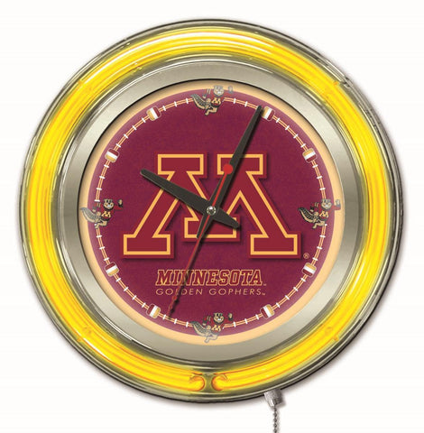 "Minnesota Golden Gophers HBS Neon Yellow Red Battery Powered Wall Clock (15"")"