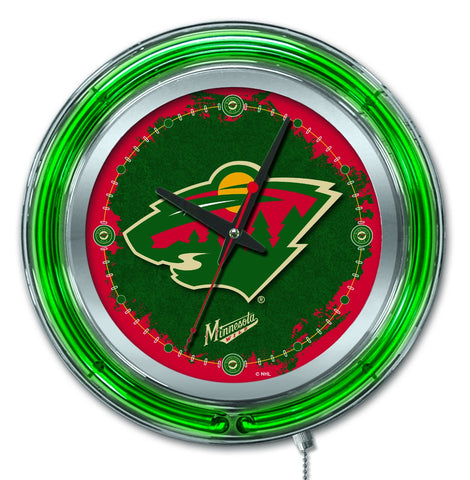 "Minnesota Wild HBS Neon Green Hockey Battery Powered Wall Clock (15"")"