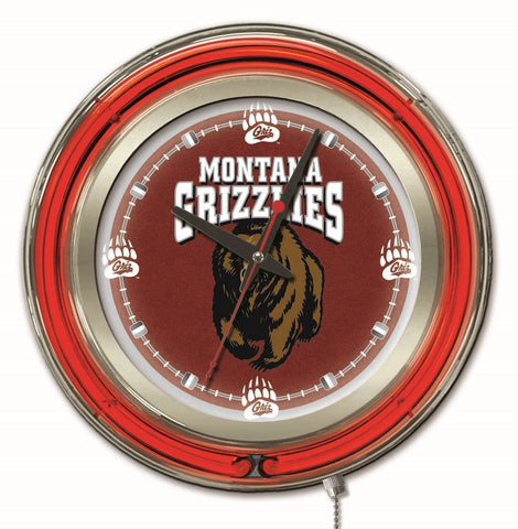 "Montana Grizzlies HBS Neon Red College Battery Powered Wall Clock (15"") - Sporting Up"