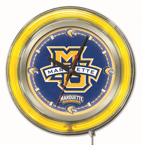 "Marquette Golden Eagles HBS Neon Yellow College Battery Powered Wall Clock (15"")"