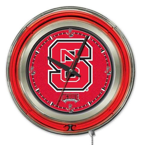 "NC State Wolfpack HBS Neon Red College Battery Powered Wall Clock (15"")"