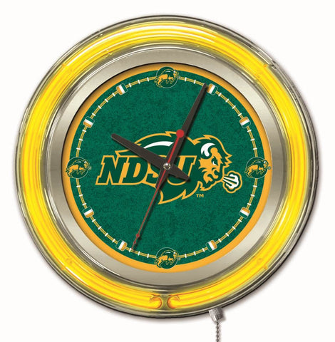 "North Dakota State Bison HBS Neon Yellow Battery Powered Wall Clock (15"")"