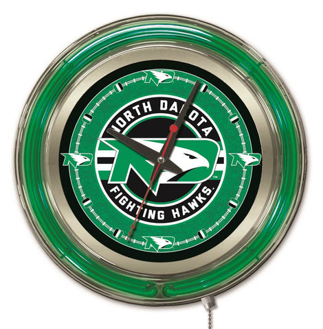 "North Dakota Fighting Hawks HBS Neon Green Battery Powered Wall Clock (15"") - Sporting Up"