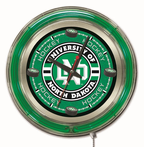 "North Dakota Fighting Hawks HBS Neon Hockey Battery Powered Wall Clock (15"") - Sporting Up"