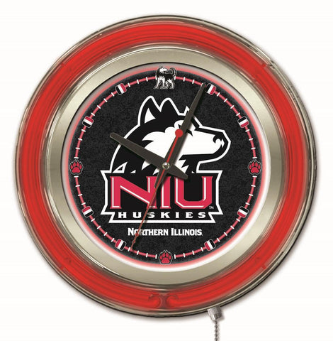 "Northern Illinois Huskies HBS Neon Red College Battery Powered Wall Clock (15"")"
