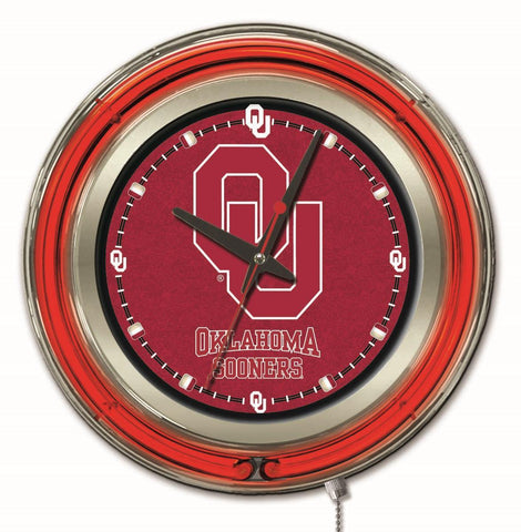 "Oklahoma Sooners HBS Neon Red College Battery Powered Wall Clock (15"")"