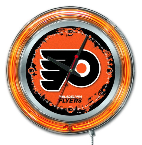 "Philadelphia Flyers HBS Neon Orange Hockey Battery Powered Wall Clock (15"")"