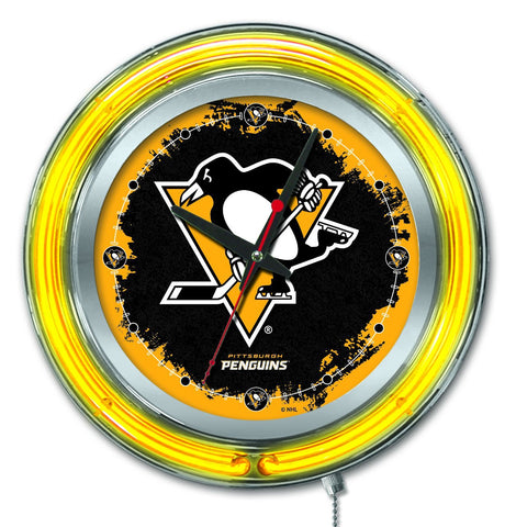"Pittsburgh Penguins HBS Neon Yellow Hockey Battery Powered Wall Clock (15"")"