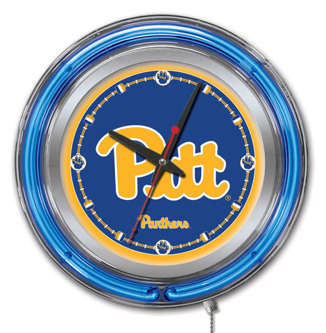 "Pittsburgh Panthers HBS Neon Blue College Battery Powered Wall Clock (15"")"