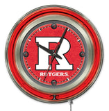 "Rutgers Scarlet Knights HBS Neon Red College Battery Powered Wall Clock (15"")"