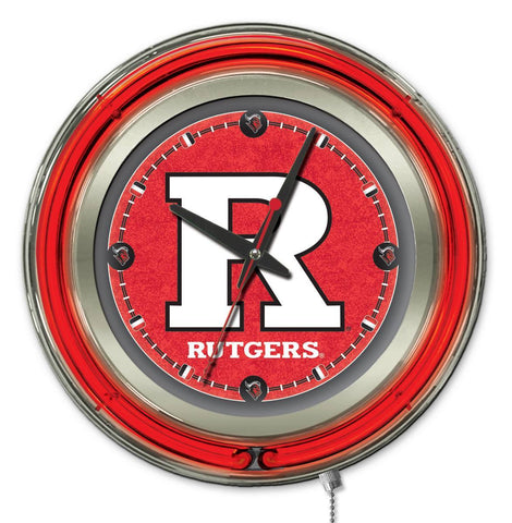 "Shop Rutgers Scarlet Knights HBS Neon Red College Battery Powered Wall Clock (15"")"