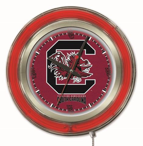 "South Carolina Gamecocks HBS Neon Red College Battery Powered Wall Clock (15"")"