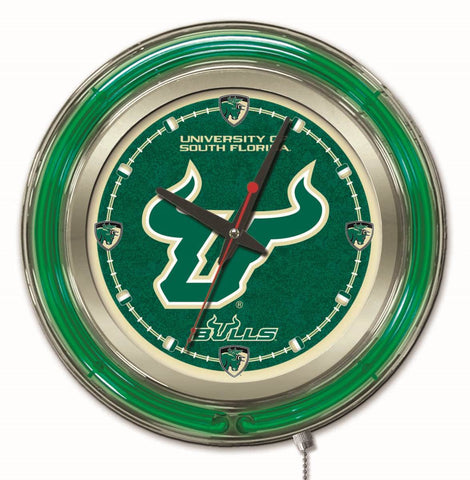 "South Florida USF Bulls HBS Neon Green College Battery Powered Wall Clock (15"")"