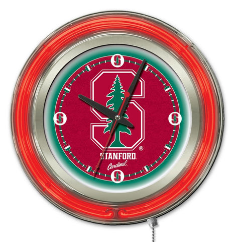 "Stanford Cardinal HBS Neon Red College Battery Powered Wall Clock (15"")"