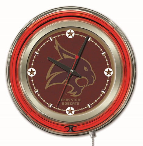 "Texas State Bobcats HBS Neon Red Maroon College Battery Powered Wall Clock (15"")"