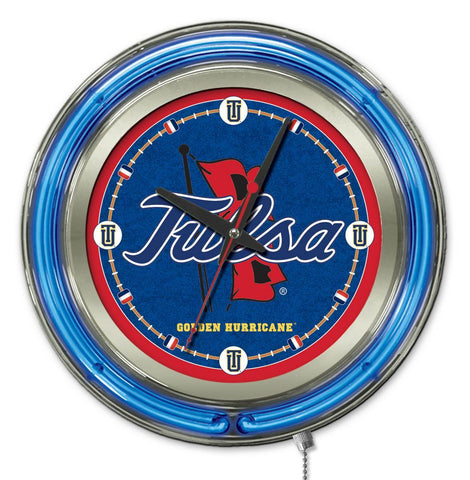 "Tulsa Golden Hurricane HBS Neon Blue College Battery Powered Wall Clock (15"")"