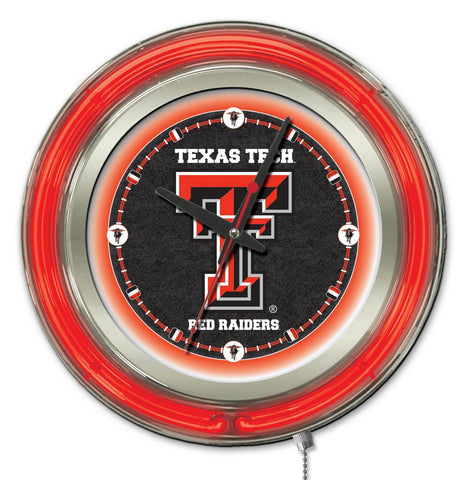 "Texas Tech Red Raiders HBS Neon Red College Battery Powered Wall Clock (15"")"
