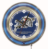 "Navy Midshipmen HBS Neon Blue College Battery Powered Wall Clock (15"") - Sporting Up"