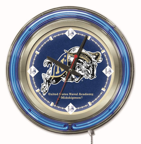 "Shop Navy Midshipmen HBS Neon Blue College Battery Powered Wall Clock (15"") - Sporting Up"