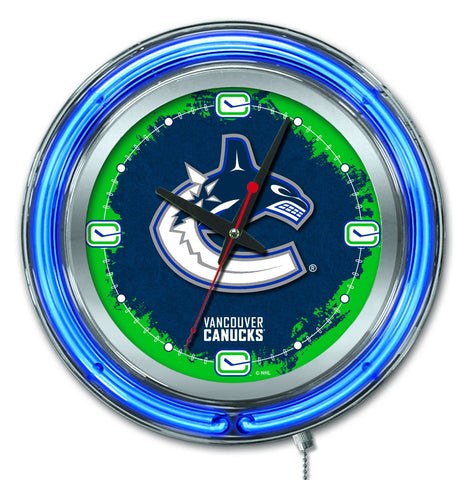 "Vancouver Canucks HBS Neon Blue Hockey Battery Powered Wall Clock (15"")"