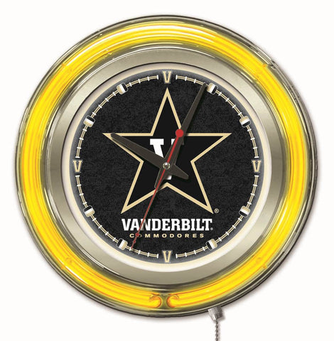 "Vanderbilt Commodores HBS Neon Yellow College Battery Powered Wall Clock (15"")"