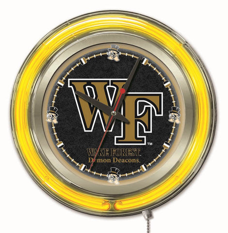 "Wake Forest Demon Deacons HBS Neon Yellow Battery Powered Wall Clock (15"") - Sporting Up"