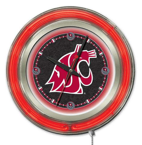"Washington State Cougars HBS Neon Red College Battery Powered Wall Clock (15"")"