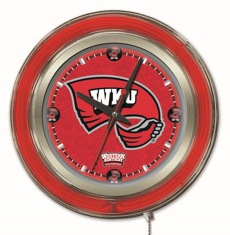 "Western Kentucky Hilltoppers HBS Neon Red Battery Powered Wall Clock (15"")"