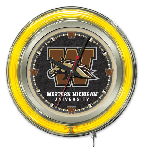 "Shop Western Michigan Broncos HBS Neon Yellow Battery Powered Wall Clock (15"") - Sporting Up"