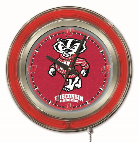"Wisconsin Badgers HBS Neon Red Badger College Battery Powered Wall Clock (15"")"