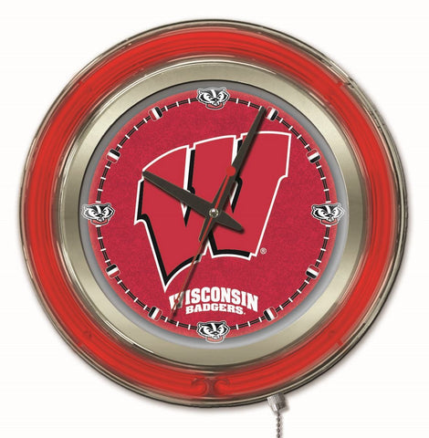 "Wisconsin Badgers HBS Neon Red ""W"" Logo College Battery Powered Wall Clock (15"")"