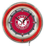"Alabama Crimson Tide HBS Neon Red ""A"" Logo Battery Powered Wall Clock (19"")"