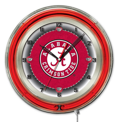 "Shop Alabama Crimson Tide HBS Neon Red ""A"" Logo Battery Powered Wall Clock (19"")"