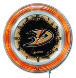 "Anaheim Ducks HBS Neon Orange Hockey Battery Powered Wall Clock (19"")"