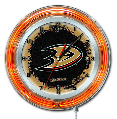 "Shop Anaheim Ducks HBS Neon Orange Hockey Battery Powered Wall Clock (19"")"