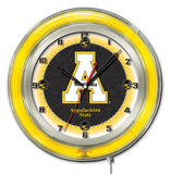 "Appalachian State Mountaineers HBS Neon Yellow Battery Powered Wall Clock (19"")"