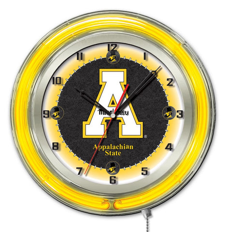"Shop Appalachian State Mountaineers HBS Neon Yellow Battery Powered Wall Clock (19"")"
