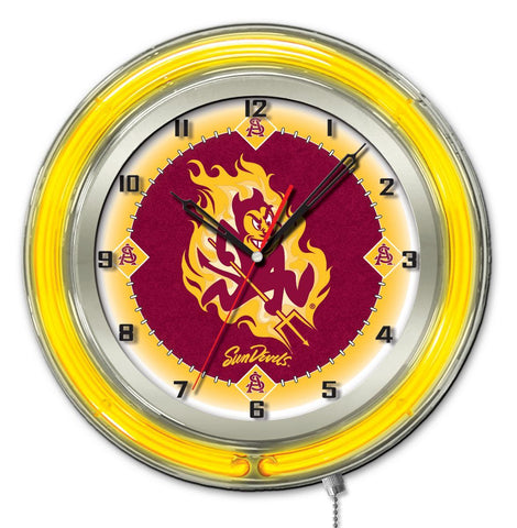 "Arizona State Sun Devils HBS Neon Yellow Red Battery Powered Wall Clock (19"")"