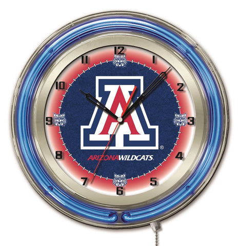"Arizona Wildcats HBS Neon Blue Navy College Battery Powered Wall Clock (19"")"