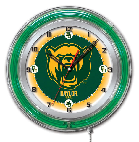 "Baylor Bears HBS Neon Green Gold College Battery Powered Wall Clock (19"")"