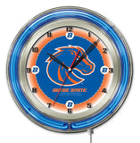 "Boise State Broncos HBS Neon Blue College Battery Powered Wall Clock (19"")"