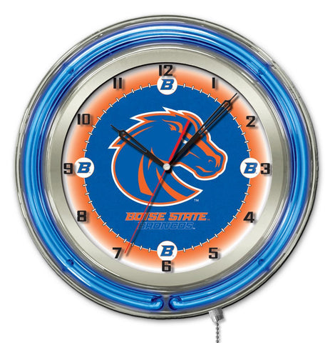 "Shop Boise State Broncos HBS Neon Blue College Battery Powered Wall Clock (19"")"