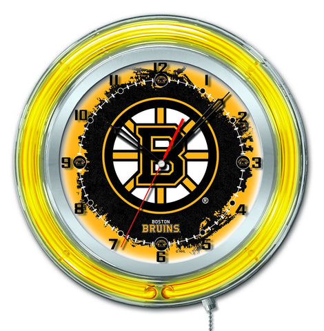 "Boston Bruins HBS Neon Yellow Hockey Battery Powered Wall Clock (19"")"