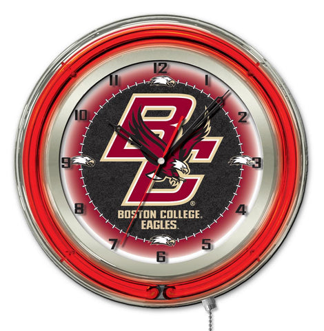 "Boston College Eagles HBS Neon Red College Battery Powered Wall Clock (19"")"