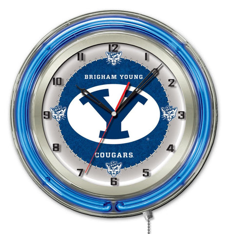 "BYU Cougars HBS Neon Blue College Battery Powered Wall Clock (19"")"