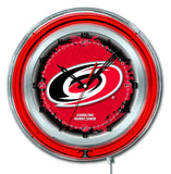 "Carolina Hurricanes HBS Neon Red Hockey Battery Powered Wall Clock (19"")"