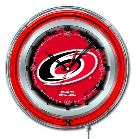 "Shop Carolina Hurricanes HBS Neon Red Hockey Battery Powered Wall Clock (19"")"