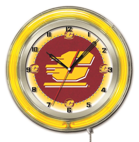 "Central Michigan Chippewas HBS Neon Yellow Battery Powered Wall Clock (19"") - Sporting Up"